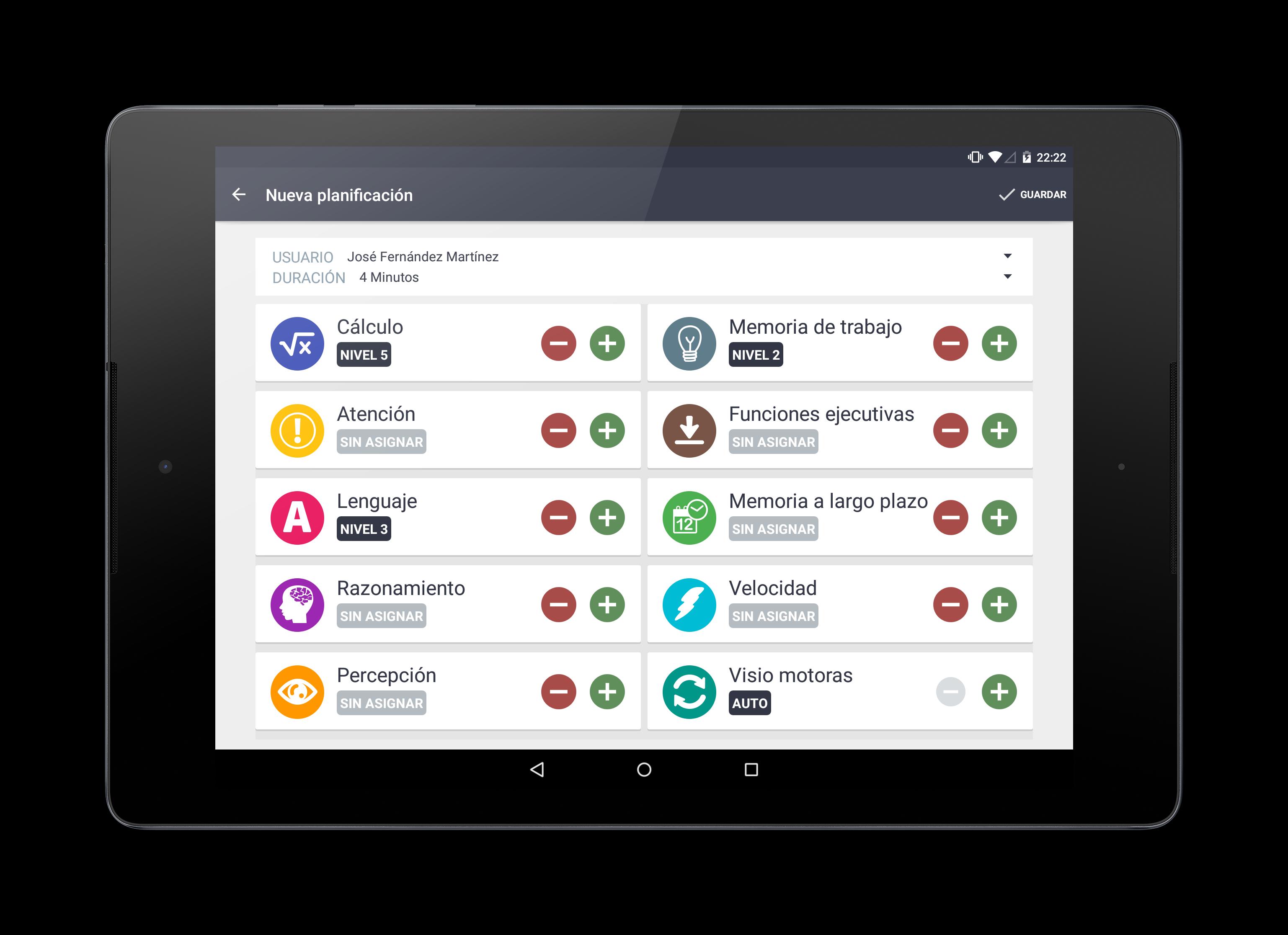 Planificador de sesiones | De manera personalizada para cada usuario, podrá seleccionar las funciones cognitivas con las que desea trabajar y su nivel. Stimulus se encargará de lo demás.
